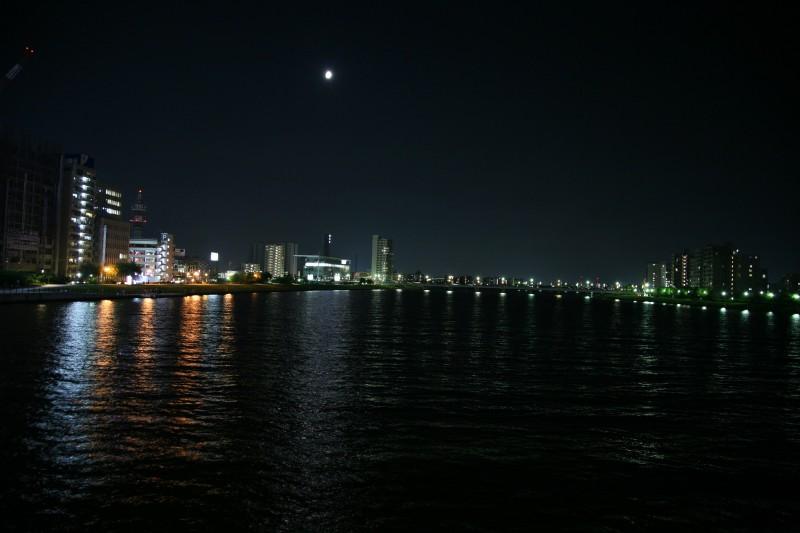 Shinano river at night