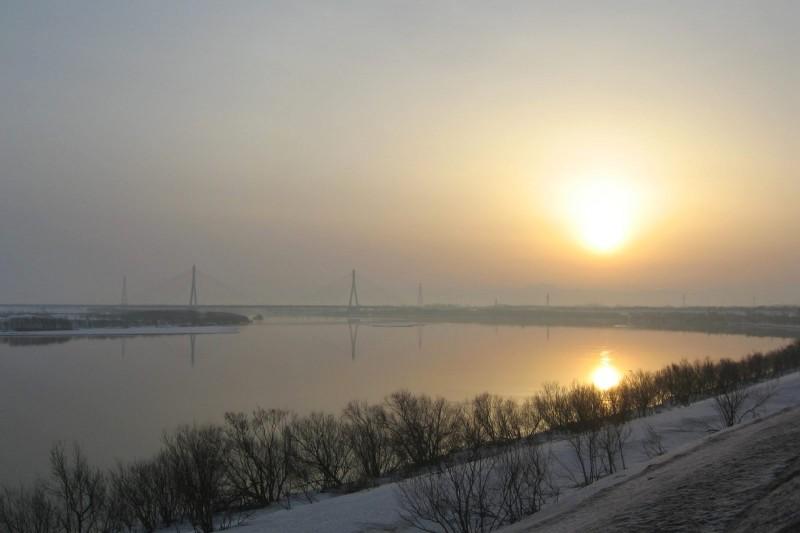 Sunrise at Ishikari River in Hokkaido