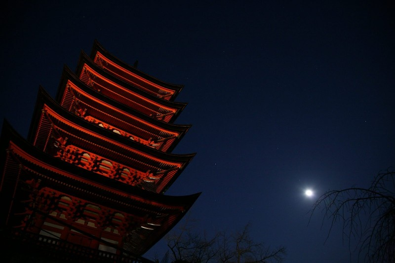Five-story pagoda and the moon